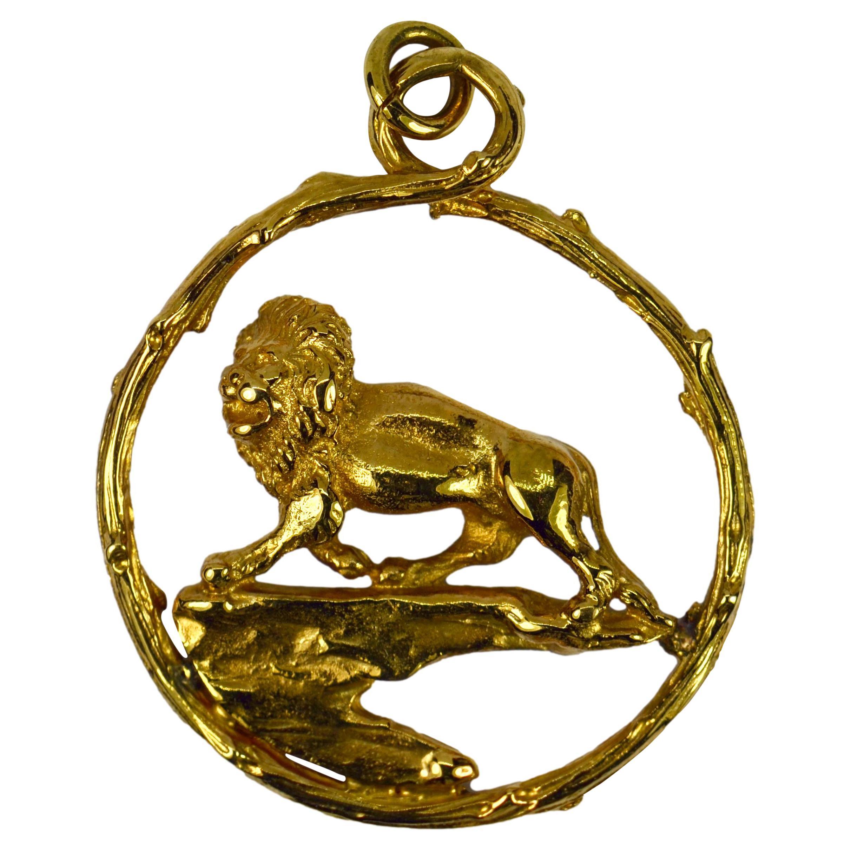 Zodiac Leo 18K Yellow Gold Lion Charm Pendant