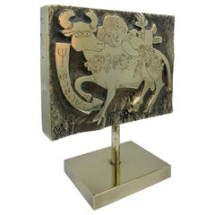 Zodiac May Taurus the Bull Mid-Century Modern Solid Brass Sculpture Objet d' Art