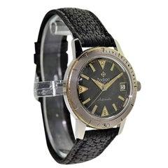 Zodiac Stainless Steel Black Dial Sea Wolf Automatic Wristwatch, circa 1950s