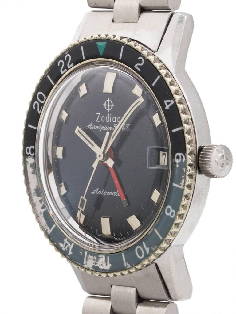 Zodiac Stainless Steel Aerospace GMT Automatic wristwatch, circa 1960s In Excellent Condition For Sale In West Hollywood, CA