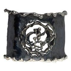 Zodiak Aquarius Organic Silver Adjustable Cuff Bracelet