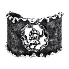 Zodiak Gemini Organic Silver Adjustable Cuff Bracelet