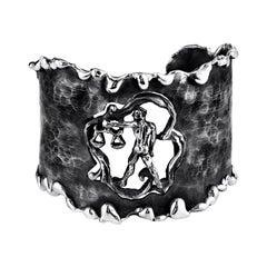 Zodiak Libra Organic Silver Adjustable Cuff Bracelet