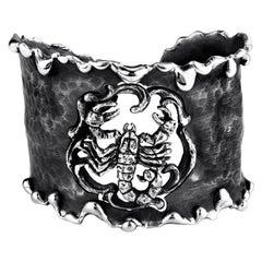Zodiak Scorpio Organic Silver Cuff Bracelet
