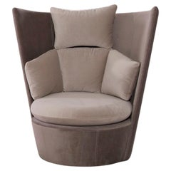 Zoe Accent Chair with Two-Tone 'Beige and Dark Grey' Fabric Upholstery