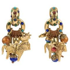 Zoe Coste Boho Ethnic Chic Gilt Metal and Beads Dangle Clip Earrings