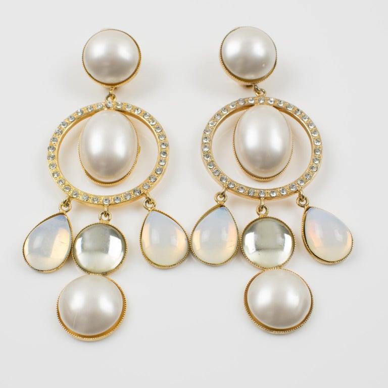 Zoe Coste Dangle Clip Earrings Opalescent Cabochon In Excellent Condition For Sale In Atlanta, GA