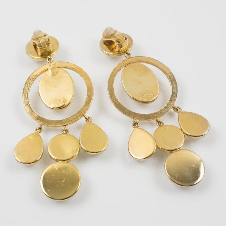 Women's or Men's Zoe Coste Dangle Clip Earrings Opalescent Cabochon For Sale