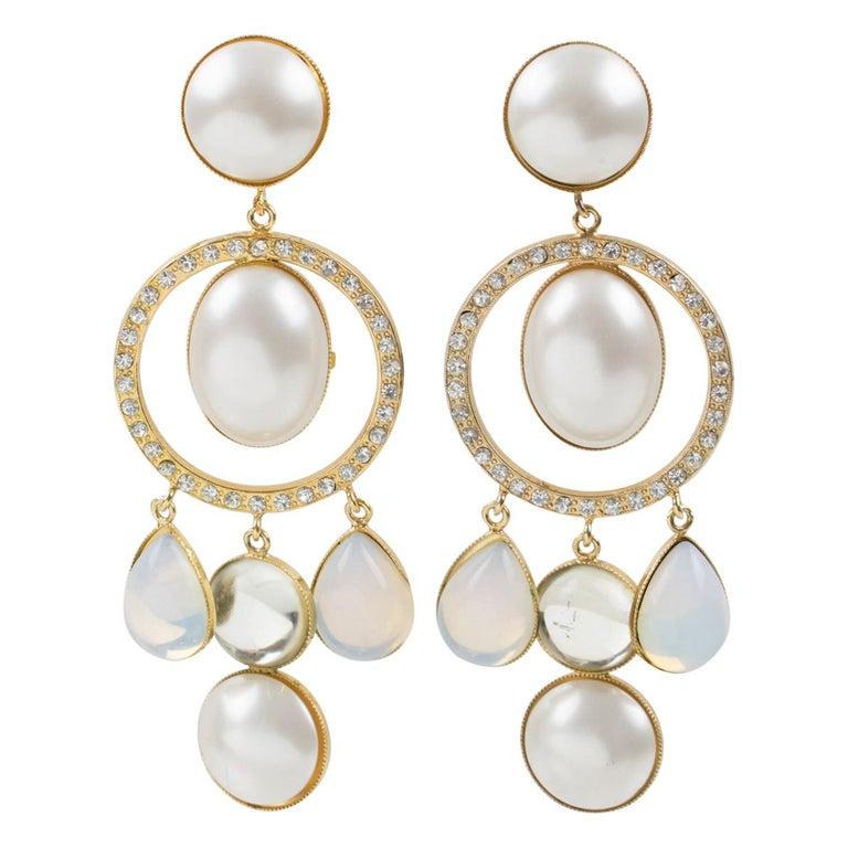 Zoe Coste Dangle Clip Earrings Opalescent Cabochon For Sale