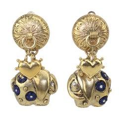 Zoe Coste Elephant & Heart Charm Earrings