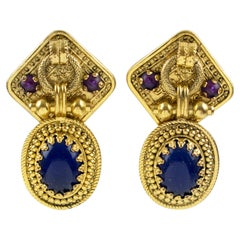 Zoe Coste Dangle Clip Earrings Blue Cabochon