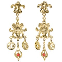 Zoe Coste Gilt Metal Baroque Chandelier Clip Earrings