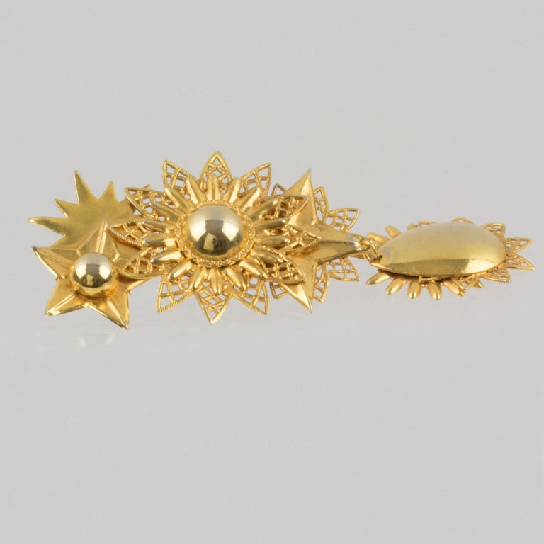 Zoe Coste Gilt Metal Dangle Clip Earrings Star and Sun For Sale 2
