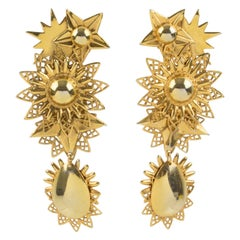 Zoe Coste Gilt Metal Dangle Clip Earrings Star and Sun