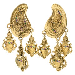 Zoe Coste Oversized Oriental Jeweled Dangle Clip Earrings