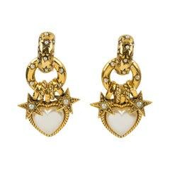 Zoe Coste Romantic Gilt Metal and Pearl Dangle Heart Clip Earrings