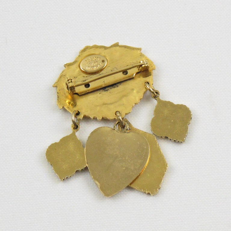 Women's or Men's Zoe Coste Romantic Pin Brooch with Gilt Metal Charms