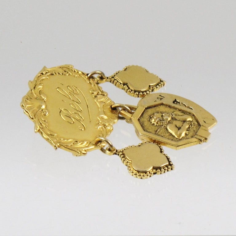 Zoe Coste Romantic Pin Brooch with Gilt Metal Charms 2