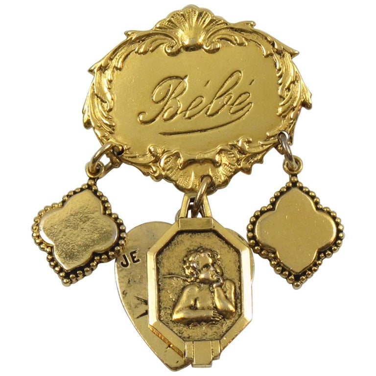 Zoe Coste Romantic Pin Brooch with Gilt Metal Charms