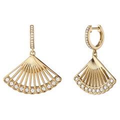 Zoe Drop Earrings, Yellow Gold anmd Diamond Fan Earrings