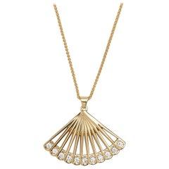 Zoe Fan Necklace, Yellow Gold and Diamond Fan Necklace