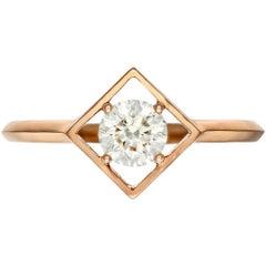 Rose Gold 1 Carat Enement Rings | 1850s 1 Carat Diamond 18 Karat Rose Gold Marquise Engagement Ring At