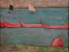 """""""Boats"""" Oil Painting 15"""" x 19"""" inch by Zohra Efflatoun"""
