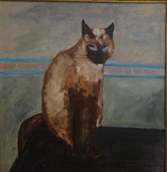"""""""Cat 2"""" Oil Painting 20"""" x 19"""" inch by Zohra Efflatoun"""