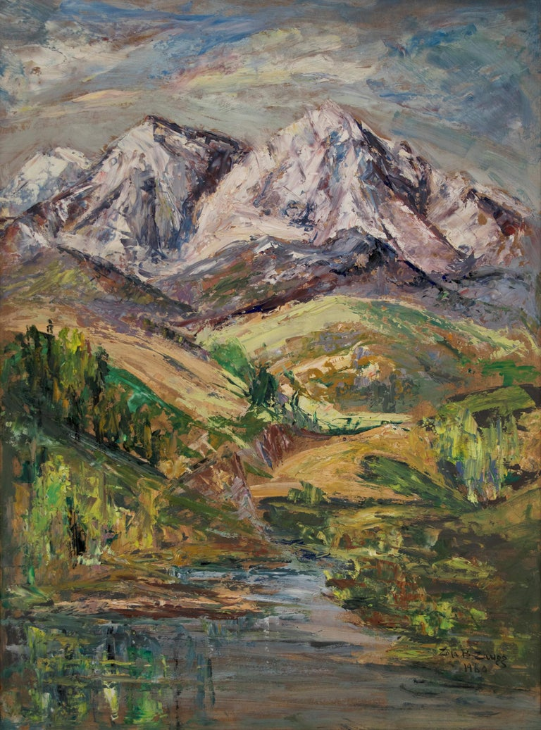 Original vintage mid-century landscape painting by Colorado woman artist, Zola Zaugg (1890-1983).  The Colorado mountains are depicted with a stream in the foreground and painted in an impressionist style in colors of blue, green, purple, white and