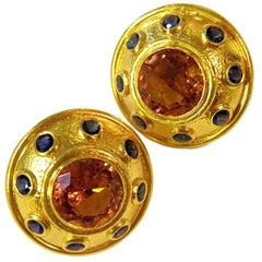 Zolotas Large Citrine and Sapphire Ear Clips