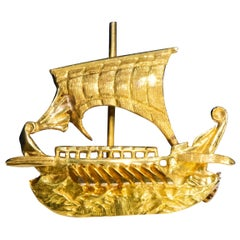 Zolotas 18 Karat Handmade Gold Ancient Greek Warship Oar Boat Brooch Pin