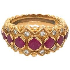 Zolotas 18 Karat Yellow Gold Ruby and Diamond Ring