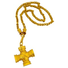 Zolotas 22 Karat and 18 Karat Yellow Gold Greek Cross and Chain Pendant Necklace