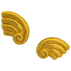 Zolotas 22 Karat and 24 Karat Hammered Yellow Gold Earrings