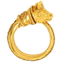 Zolotas 22 Karat Yellow Gold Vintage Greek Revival Animal Head Ring