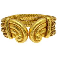 Zolotas 24 Karat and 22 Karat Yellow Gold Rope Bracelet with Greek Motif Centre