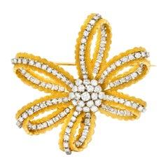 Zolotas 3.50 Carat Diamond Platinum 18 Karat Gold Festive Bow Brooch