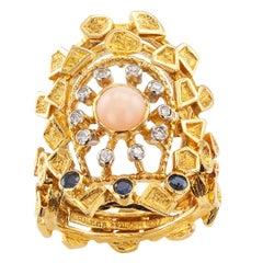 Zolotas Coral Diamond Sapphire Gold Ring