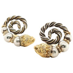 Zolotas Gold and Silver Spiral Earrings