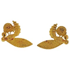 Zolotas Greece Gold Insect Wasp Earrings