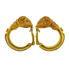 Zolotas Greece Ram's Head Gold Hoop Earrings