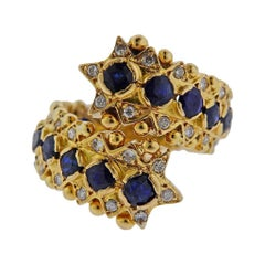Zolotas Greece Sapphire Diamond Gold Ring