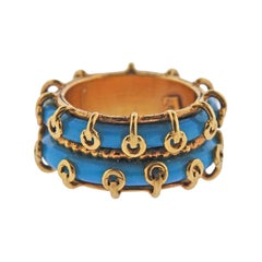 Zolotas Greece Turquoise Gold Double Row Band Ring