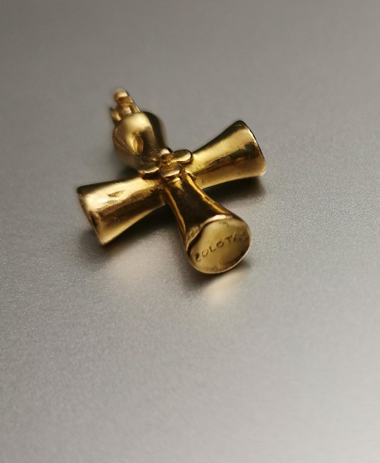 Women's or Men's Zolotas Greek Revival Cross Yellow Gold 18 Karat Pendant Charm For Sale