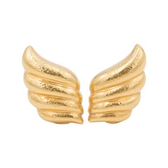 Zolotas High Karat Gold Wing Motif Earrings