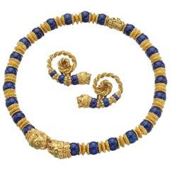 Zolotas Lapis Lazuli and Gold Demi-Parure