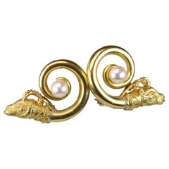 Zolotas Lion and Pearl Clip-On Earrings