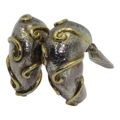 Zolotas Pair of Yellow Gold and Silver Earrings