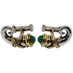 "Zolotas ""Ram"" Cufflinks in 18 Karat Gold and Silver with Green Gemstones"