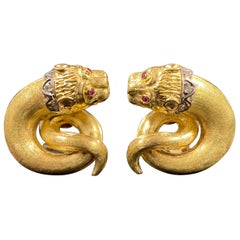 Zolotas Vintage Diamond Ruby Mythical Lion Mask Clip Earrings Yellow Gold 1970s